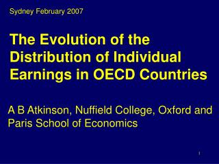 The Evolution of the Distribution of Individual Earnings in OECD Countries