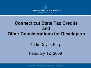 Connecticut State Tax Credits and Other Considerations for Developers