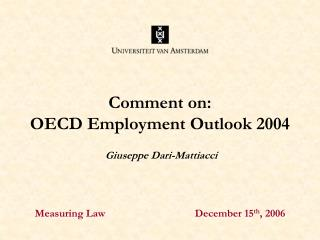Comment on: OECD Employment Outlook 2004