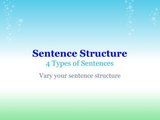 Sentence Structure 4 Types of Sentences