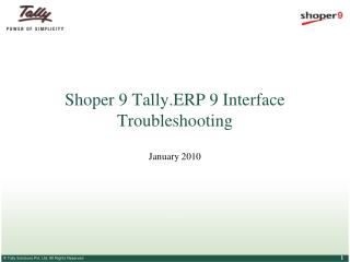 Shoper 9 Tally.ERP 9 Interface Troubleshooting