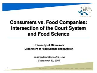 Consumers vs. Food Companies: Intersection of the Court System and Food Science