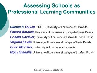 Assessing Schools as Professional Learning Communities