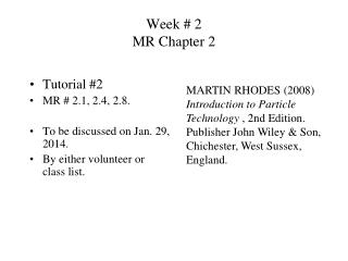 Week # 2 MR Chapter 2