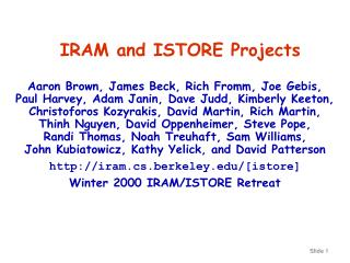 IRAM and ISTORE Projects