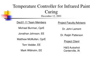 Temperature Controller for Infrared Paint Curing December 12, 2001
