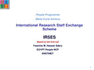 People Programme Marie Curie Actions International Research Staff Exchange Scheme IRSES