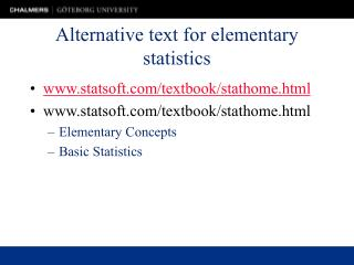 Alternative text for elementary statistics