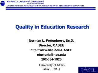 Quality in Education Research
