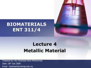 BIOMATERIALS ENT 311/4