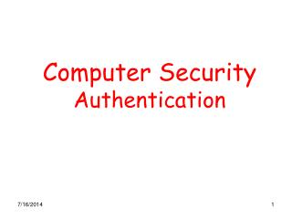 Computer Security Authentication