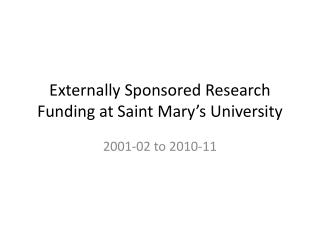 Externally Sponsored Research Funding at Saint Mary's University