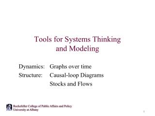 Tools for Systems Thinking and Modeling