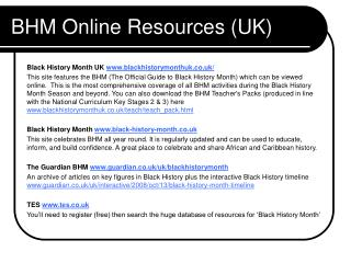 BHM Online Resources (UK)