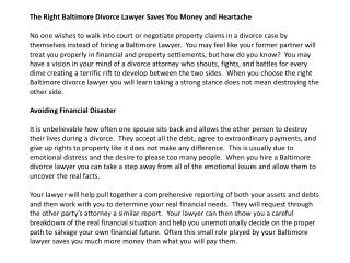 The Right Baltimore Divorce Lawyer Saves You Money and Heart