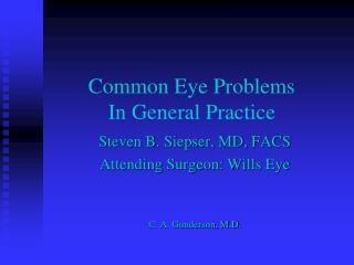 Common Eye Problems In General Practice