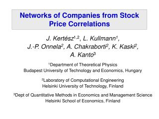 Networks of Companies from Stock Price Correlations