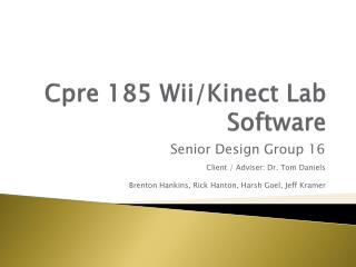 Cpre  185 Wii/Kinect Lab Software