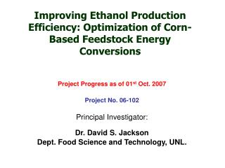 Improving Ethanol Production Efficiency: Optimization of Corn-Based Feedstock Energy Conversions