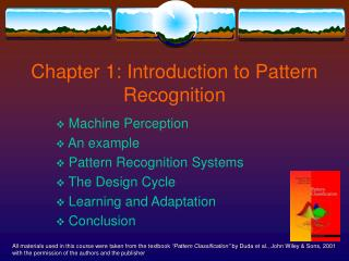 Chapter 1: Introduction to Pattern Recognition