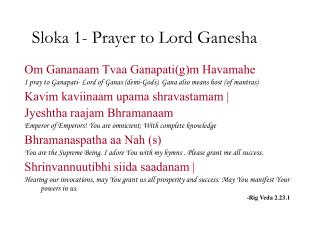 Sloka 1- Prayer to Lord Ganesha