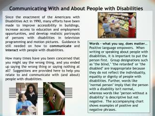 Communicating With and About People with Disabilities