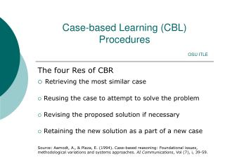 Case-based Learning (CBL) Procedures OSU ITLE