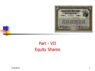 Part - VII Equity Shares