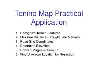 Tenino Map Practical  Application