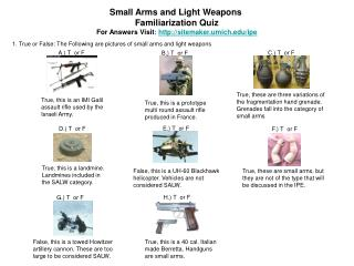 Small Arms and Light Weapons  Familiarization Quiz