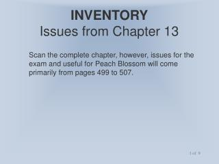 INVENTORY   Issues from Chapter 13