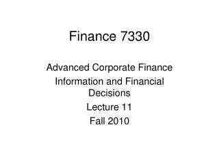 Finance 7330