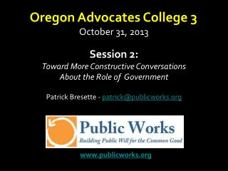 Session 2: Toward More Constructive Conversations About the Role of  Government