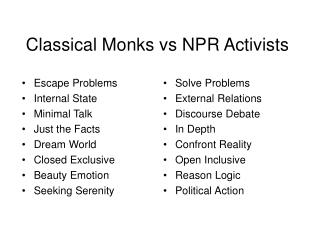 Classical Monks vs NPR Activists