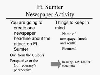 Ft. Sumter Newspaper Activity