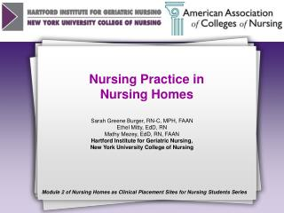 Nursing Practice in  Nursing Homes