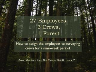 27 Employees,  3 Crews,  1 Forest
