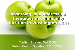 Assessing  and Addressing Inequities in Community Nutrition in Washington State