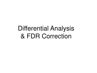 Differential Analysis & FDR Correction