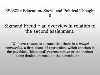 ES2302- Education: Social and Political Thought II