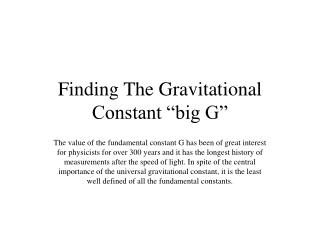 """Finding The Gravitational Constant """"big G"""""""
