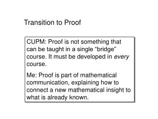 Transition to Proof