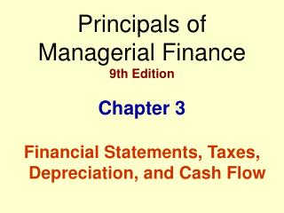Principals of          Managerial Finance 9th Edition