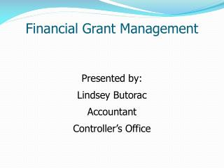 Financial Grant Management