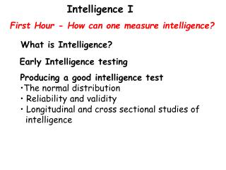 First Hour - How can one measure intelligence?