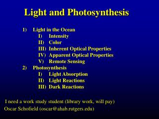 Light and Photosynthesis