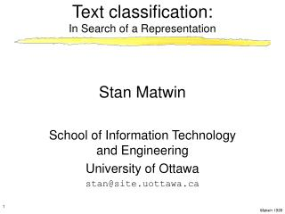 Text classification:  In Search of a Representation