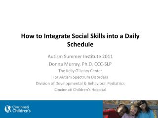 How to Integrate Social Skills into a Daily Schedule