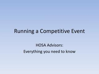 Running a Competitive Event