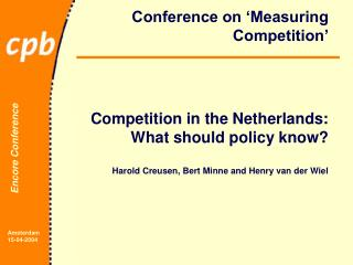 Conference on 'Measuring Competition'